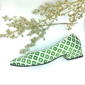 NWT Satin Indie Designer Flats Ikat Dot Block Heel